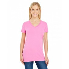 Ladies' Pigment-Dye Short-Sleeve V-Neck T-Shirt